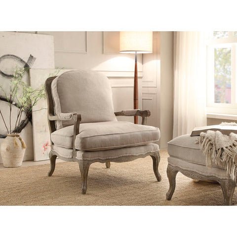 Homelegance Parlier Show Wood Accent Chair In Grey Weathered / Natural Fabric