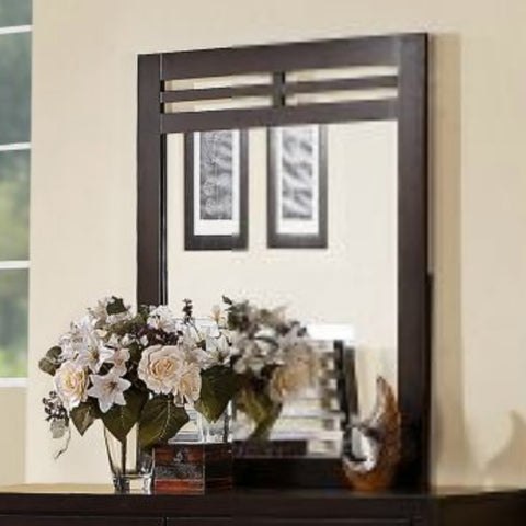 Homelegance Paula II Rectangular Mirror in Dark Cherry