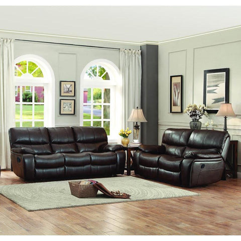 Homelegance Pecos 2 Piece Double Reclining Living Room Set in Brown Leather Gel Match