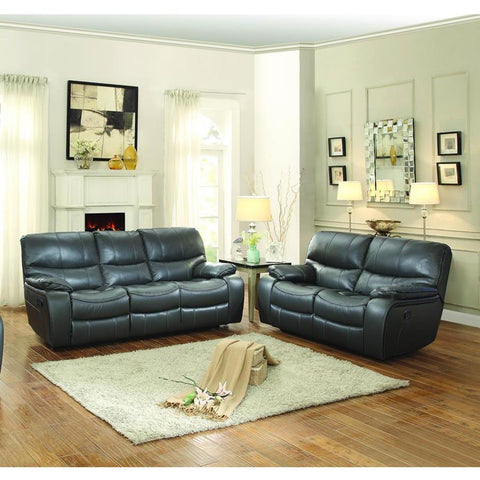 Homelegance Pecos 2 Piece Double Reclining Living Room Set in Grey Leather Gel Match