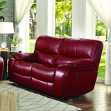 Homelegance Pecos 2 Piece Double Reclining Living Room Set in Red Leather Gel Match