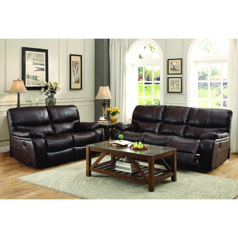 Homelegance Pecos 2 Piece Power Double Reclining Living Room Set in Brown Leather Gel Match