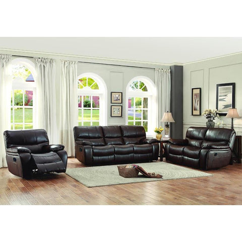 Homelegance Pecos 3 Piece Double Reclining Living Room Set in Brown Leather Gel Match