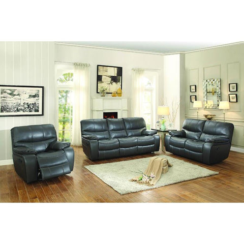 Homelegance Pecos 3 Piece Double Reclining Living Room Set in Grey Leather Gel Match
