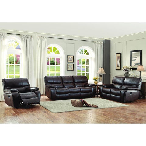 Homelegance Pecos 3 Piece Power Double Reclining Living Room Set in Brown Leather Gel Match