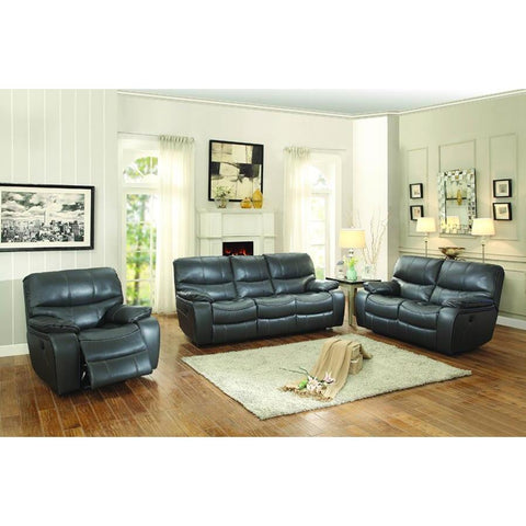 Homelegance Pecos 3 Piece Power Double Reclining Living Room Set in Grey Leather Gel Match