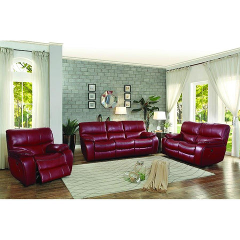 Homelegance Pecos 3 Piece Power Double Reclining Living Room Set in Red Leather Gel Match