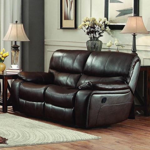Homelegance Pecos Double Reclining Loveseat in Brown Leather Gel Match