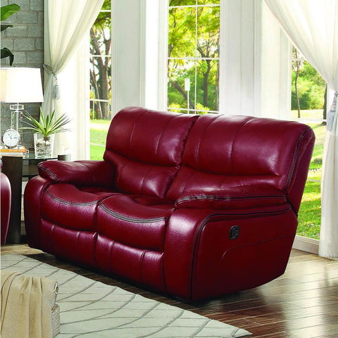 Homelegance Pecos Double Reclining Loveseat in Red Leather Gel Match