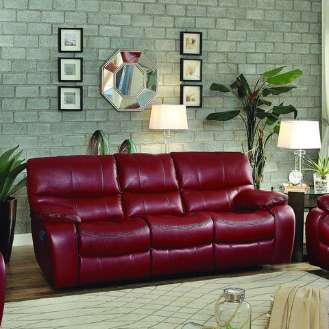 Homelegance Pecos Double Reclining Sofa in Red Leather Gel Match