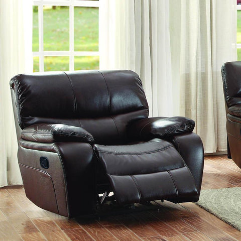 Homelegance Pecos Glider Reclining Chair in Brown Leather Gel Match