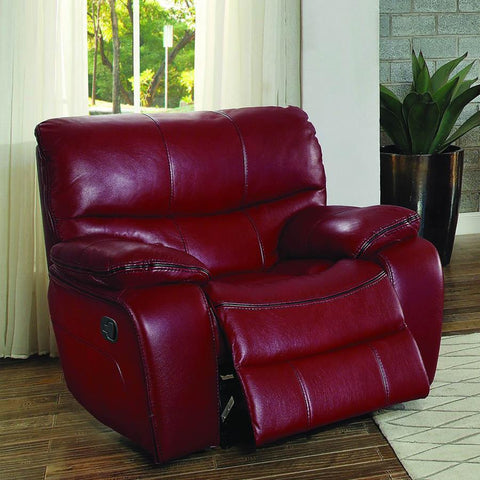 Homelegance Pecos Glider Reclining Chair in Red Leather Gel Match
