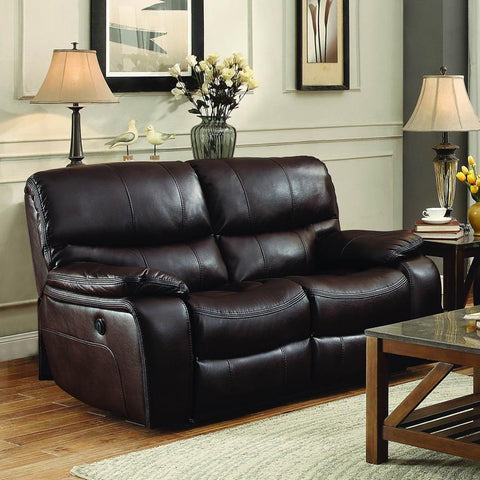 Homelegance Pecos Power Double Reclining Loveseat in Brown Leather Gel Match