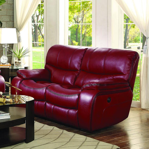 Homelegance Pecos Power Double Reclining Loveseat in Red Leather Gel Match