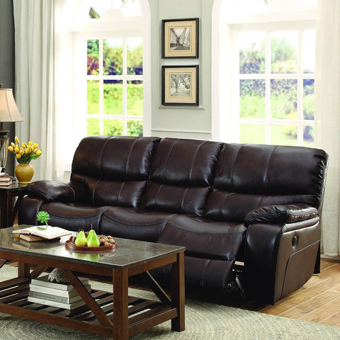 Homelegance Pecos Power Double Reclining Sofa in Brown Leather Gel Match