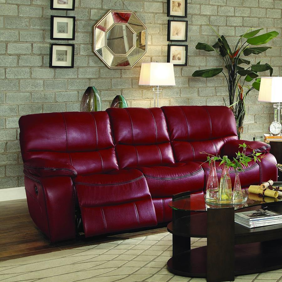 Homelegance Pecos Power Double Reclining Sofa in Red Leather Gel Match