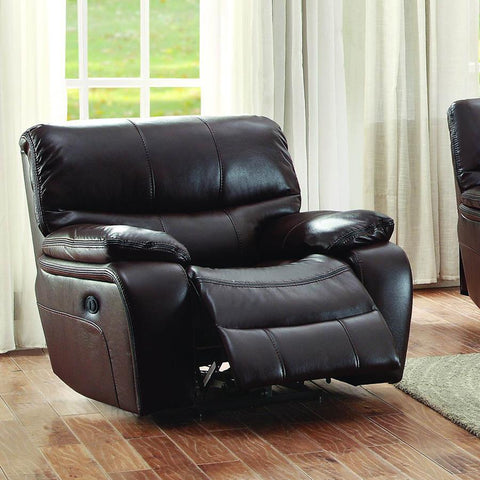 Homelegance Pecos Power Reclining Chair in Brown Leather Gel Match