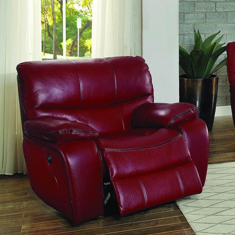 Homelegance Pecos Power Reclining Chair in Red Leather Gel Match