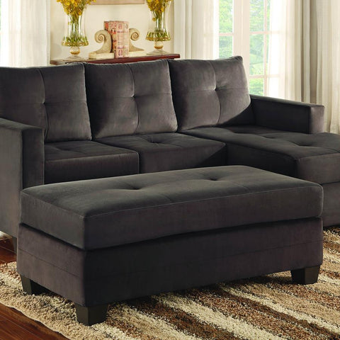 Homelegance Phelps Ottoman in Chocolate Microfiber