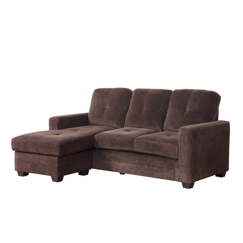 Homelegance Phelps Sofa Chaise in Coffee Microfiber