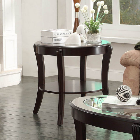 Homelegance Pierre End Table w/ Glass Insert in Rich Espresso