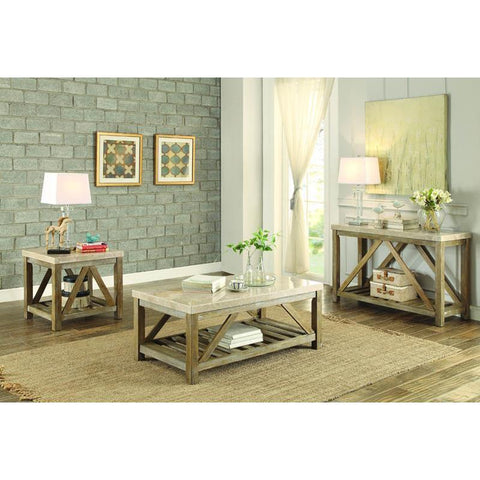 Homelegance Ridley 3 Piece Coffee Table Set w/Marble Top in Weathered Wood