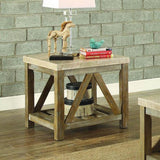 Homelegance Ridley End Table w/Marble Top in Weathered Wood