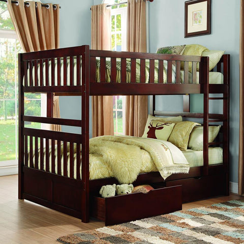 Homelegance Rowe Full / Full Bunk Bed in Dark Cherry