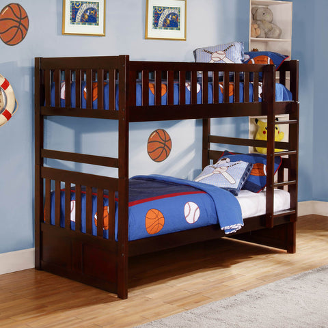 Homelegance Rowe Twin/ Twin Bunk Bed in Dark Cherry
