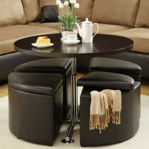 Homelegance Rowley Round Gas Lift Dining Table w/ 4 Storage Ottomans