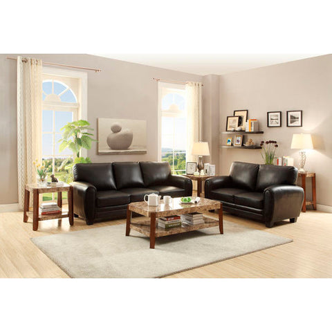 Homelegance Rubin Love Seat & Sofa In Black Bonded Leather Match
