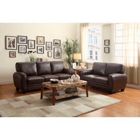 Homelegance Rubin Love Seat & Sofa In Dark Brown Bonded Leather Match