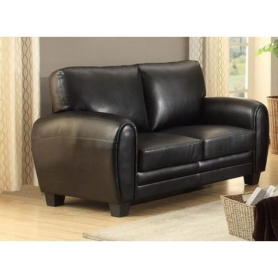 Homelegance Rubin Love Seat In Black Bonded Leather Match