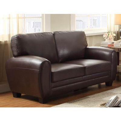 Homelegance Rubin Love Seat In Dark Brown Bonded Leather Match