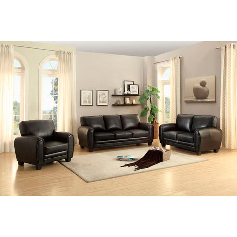 Homelegance Rubin Three Piece Sofa Set In Black Bonded Leather Match