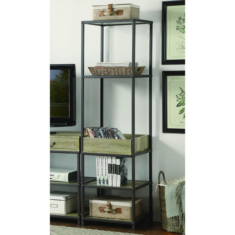 Homelegance Rumi Side Pier/Bookcase w/Tray in Light Oak