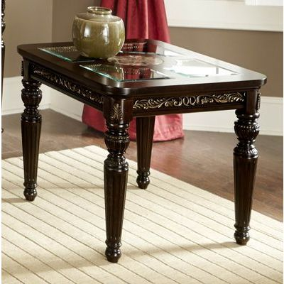 Homelegance Russian Hill End Table With Faux Marble/Glass Top In Cherry With Gold Tipping