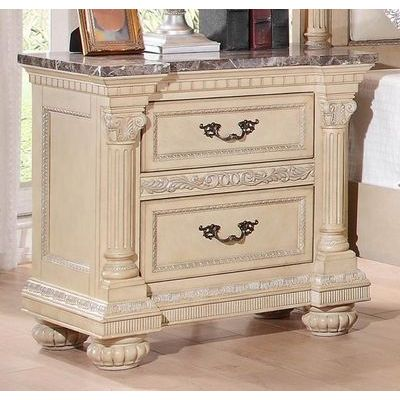 Homelegance Russian Hill Night Stand With Faux Marble Top In Antique White