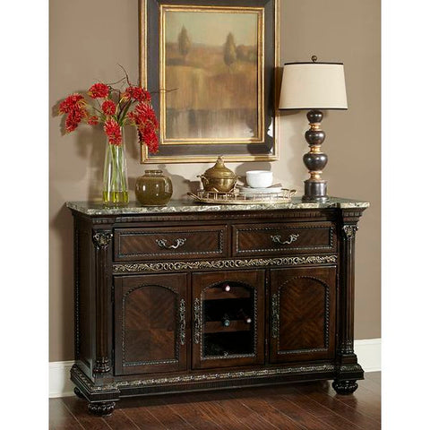 Homelegance Russian Hill Server With Faux Marble Top In Cherry Finish