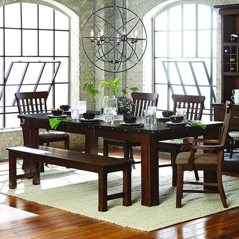 Homelegance Schleiger 6 Piece Rectangular Dining Room Set in Burnished Brown