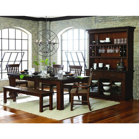 Homelegance Schleiger 7 Piece Rectangular Dining Room Set in Burnished Brown