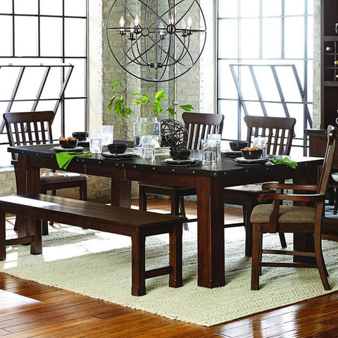 Homelegance Schleiger 9 Piece Rectangular Dining Room Set in Burnished Brown