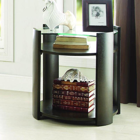 Homelegance Sicily End Table w/Glass Top in Espresso