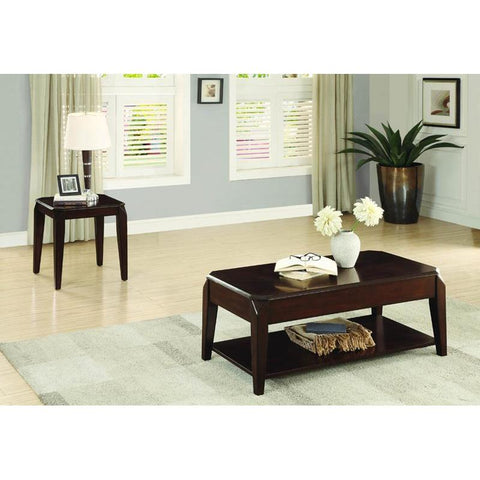 Homelegance Sikeston 2 Piece Coffee Table Set in Cherry