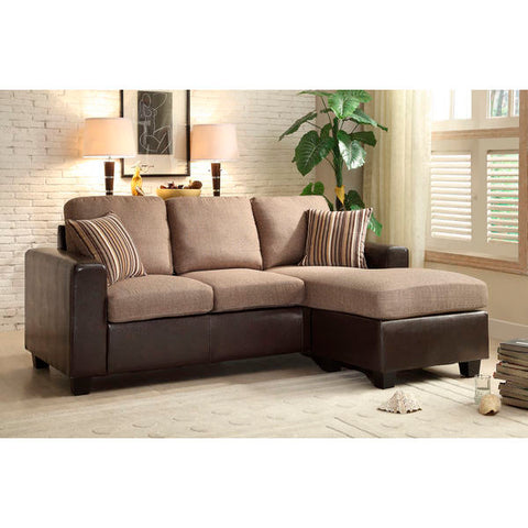 Homelegance Slater Sofa Chaise, Reversible, Linen-Like In Polyester & Bi-Cast Vinyl