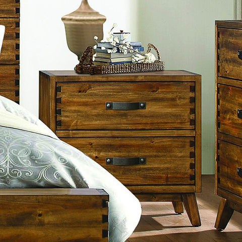 Homelegance Sorrel 2 Drawer Nightstand in Heavily Burnished