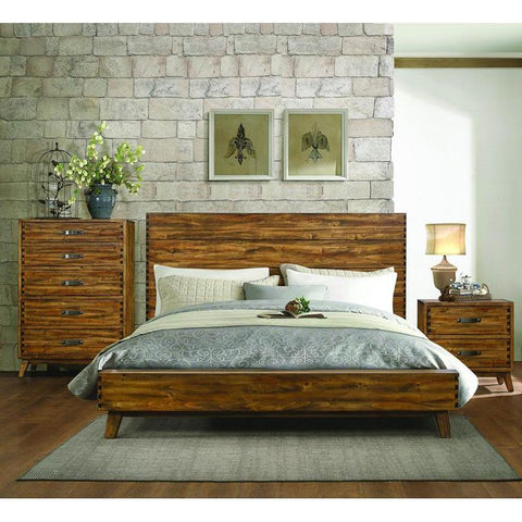 Homelegance Sorrel 3 Piece Platform Bedroom Set w/Chest in Heavily Burnished