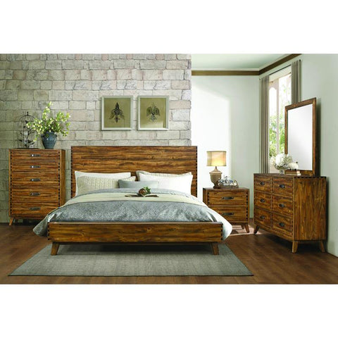 Homelegance Sorrel 4 Piece Platform Bedroom Set in Heavily Burnished
