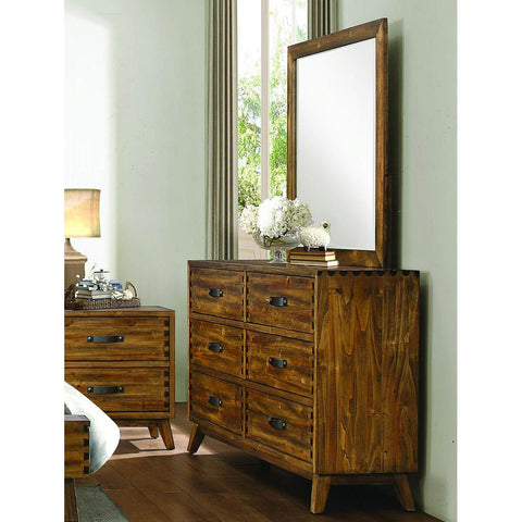 Homelegance Sorrel 6 Drawer Dresser & Mirror in Heavily Burnished