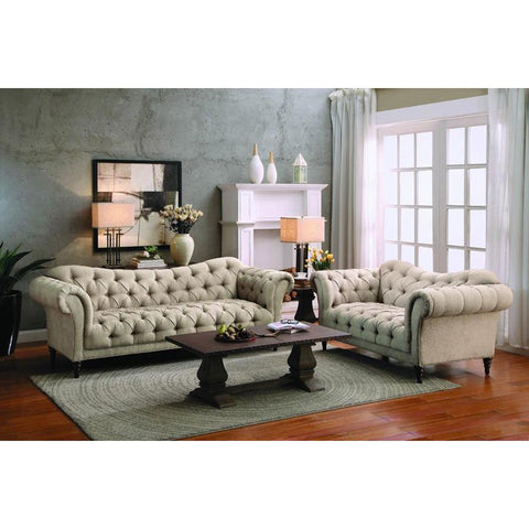 Homelegance St. Claire 2 Piece Living Room Set in Brown Fabric